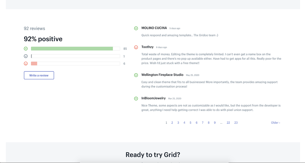 Grid Shopify theme review