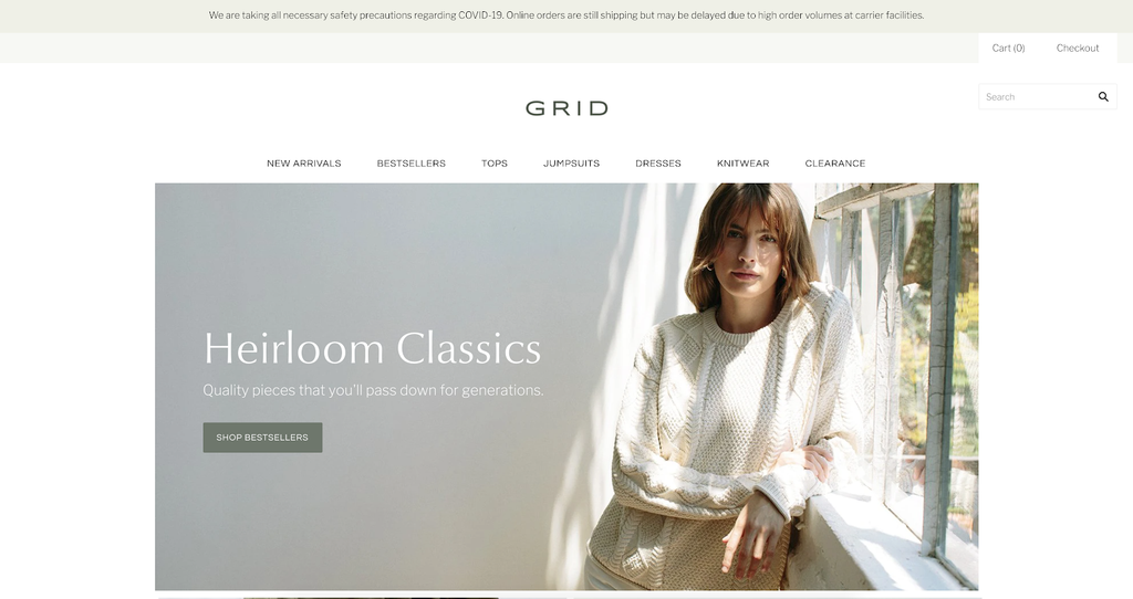 Grid shopify theme demo laptop