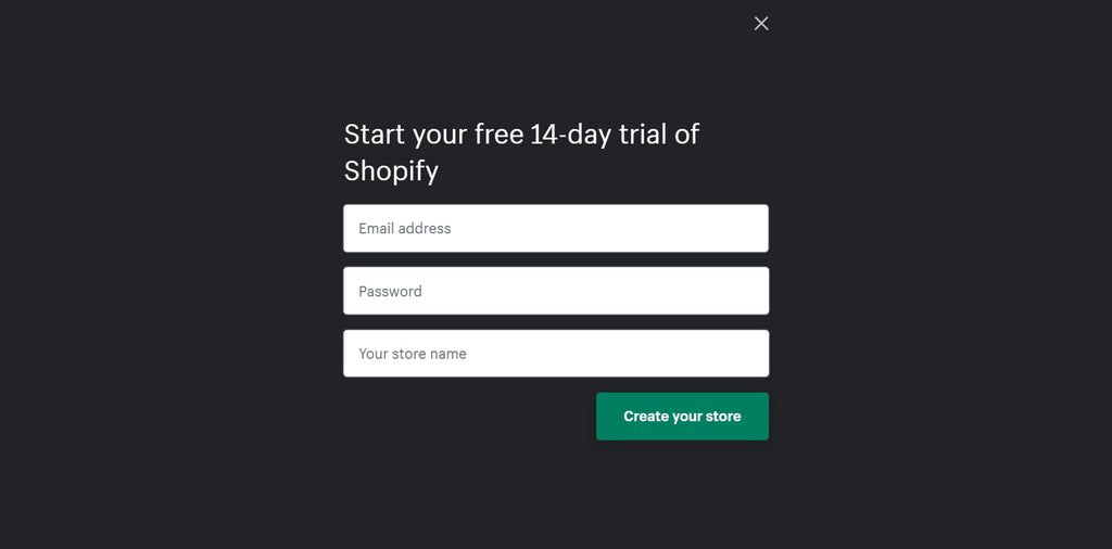 Start 14-day trial on Shopify