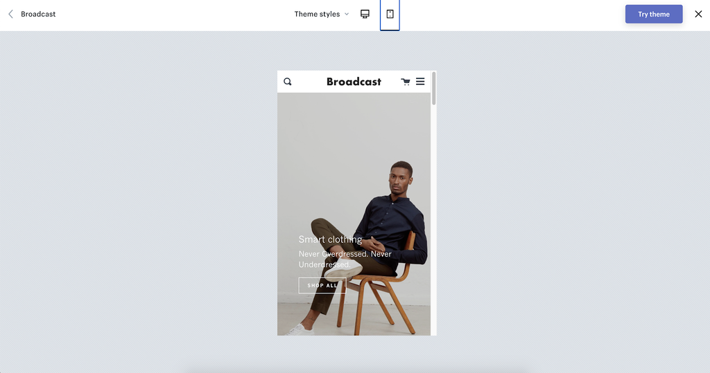 Broadcast shopify theme demo mobile