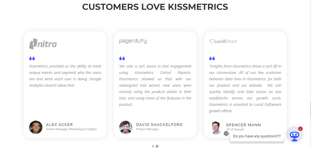 testimonials and the live chat in sales will increase conversion rates