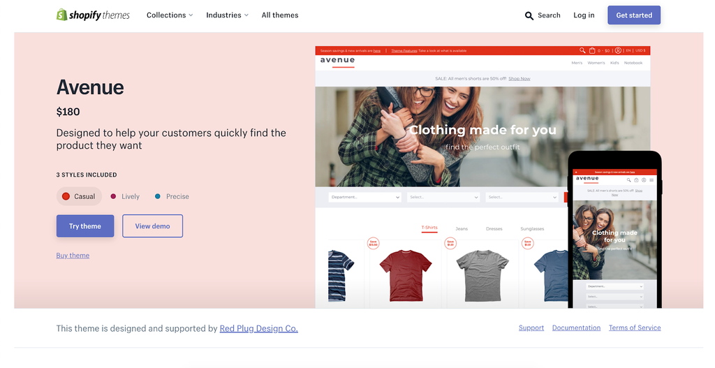 Avenue shopify theme listing