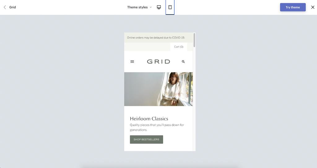 Grid shopify theme demo mobile