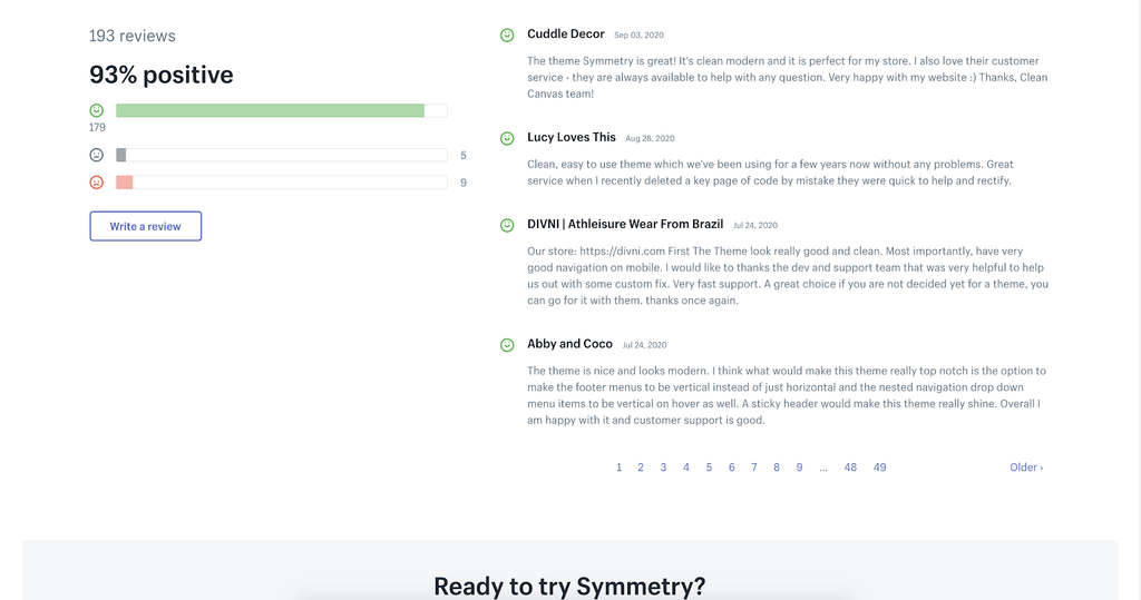 Symmetry shopify theme review