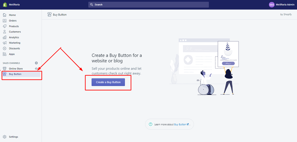 The buy button Shopify location