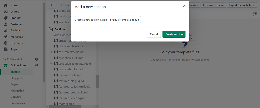 Create the New Product Section