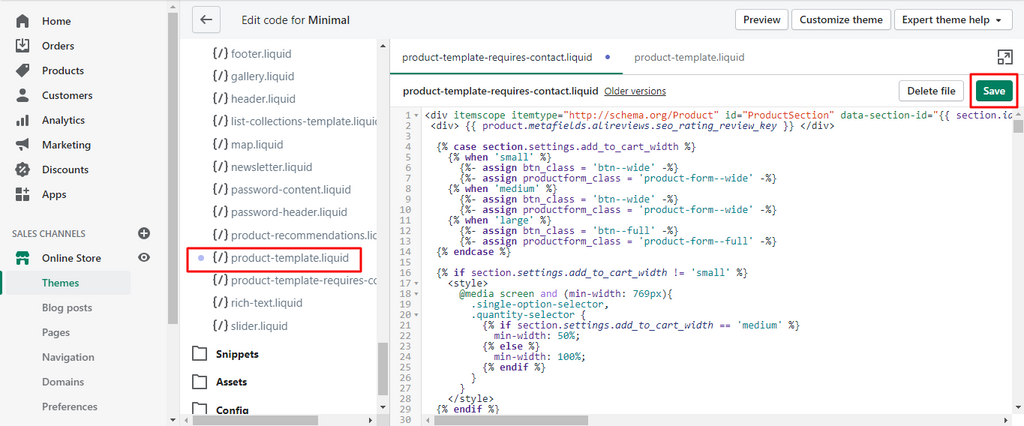 Replace All Default Code in the New Section