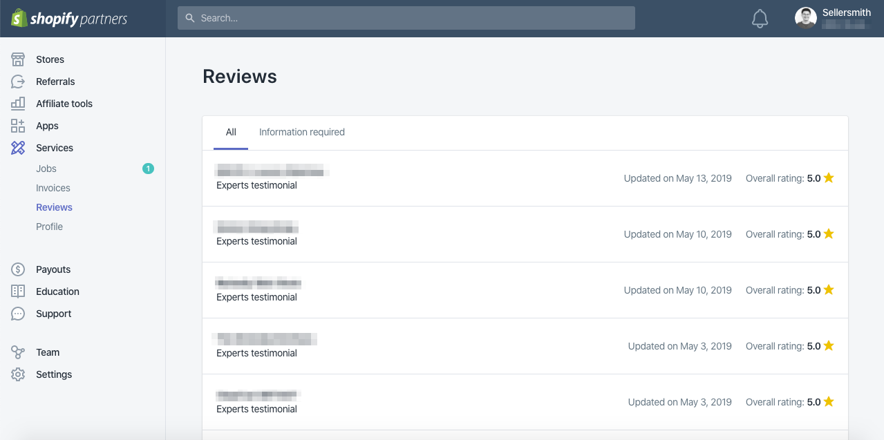 Reviews dashboard Shopify Partners