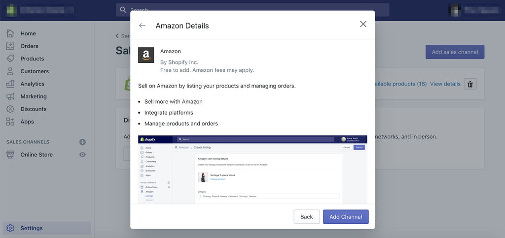 Connect Amazon integration app to Shopify