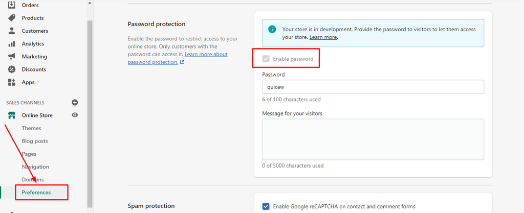 Enable password in Shopify store's preferences page
