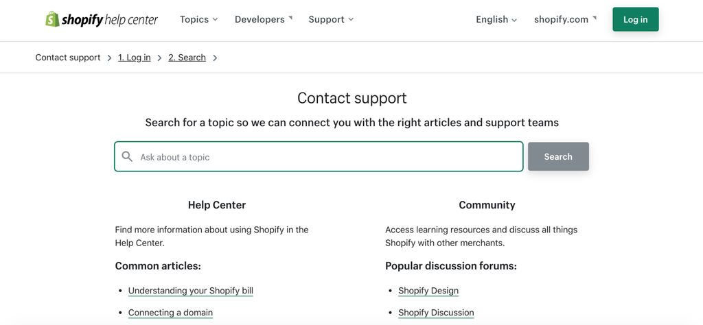 contact support from shopify online store 2.0