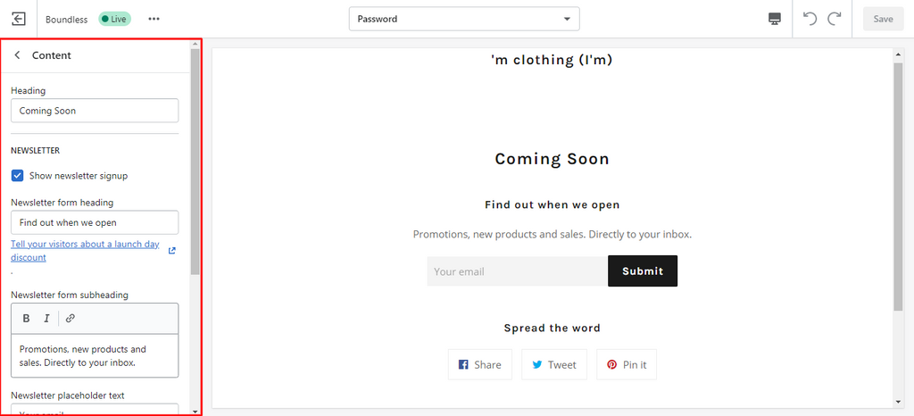 set up the password page as coming soon page