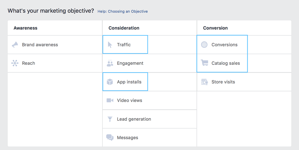 Facebook breaks objectives into three categories: Awareness, Consideration, and Conversion