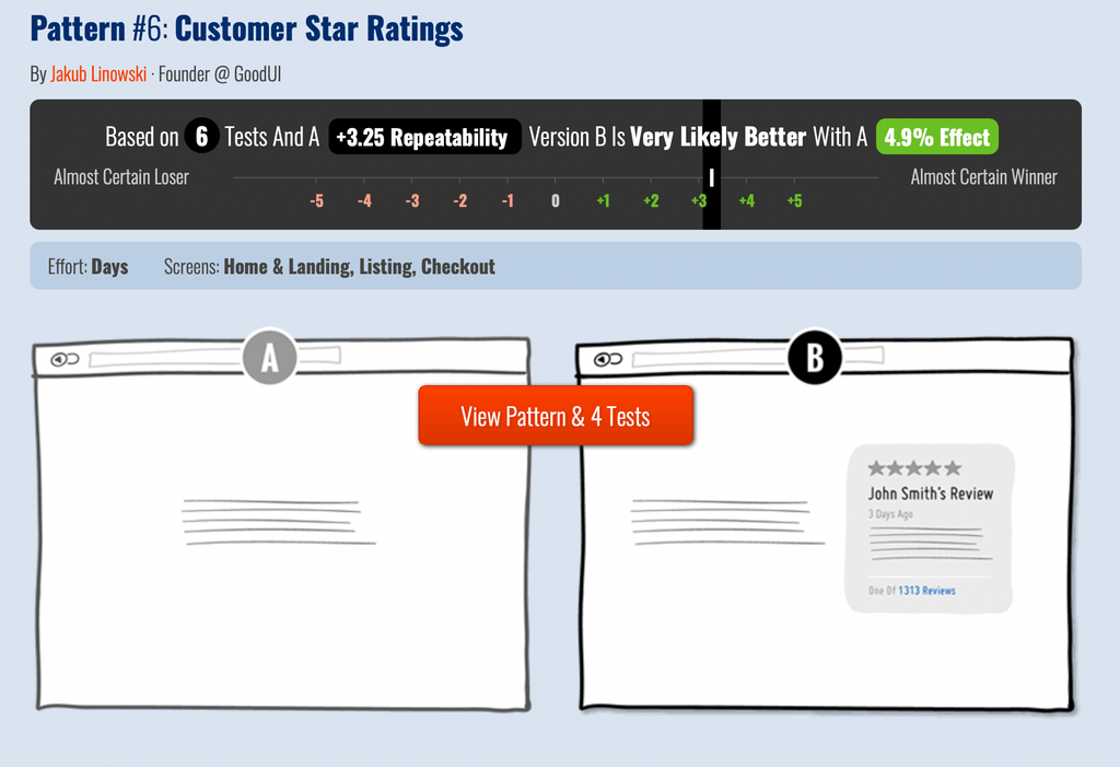 Add customer ratings in landing page