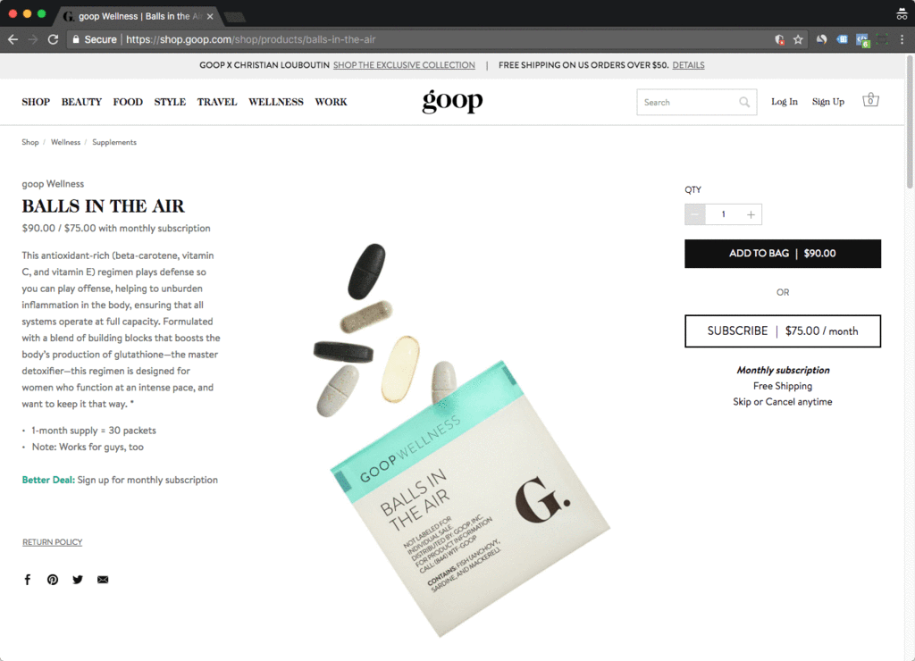 goop shopify product page example