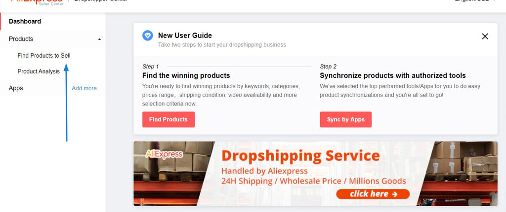 Find products to sell in Aliexpress Dropshipping Center