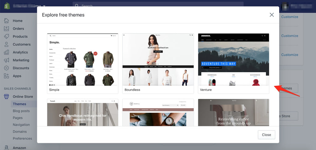 change theme from Shopify dashboard