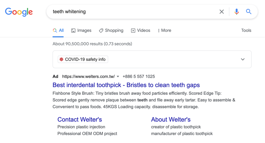 Welters google ad