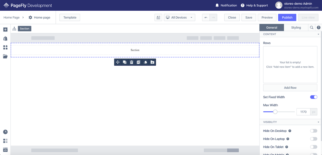 PageFly editor page