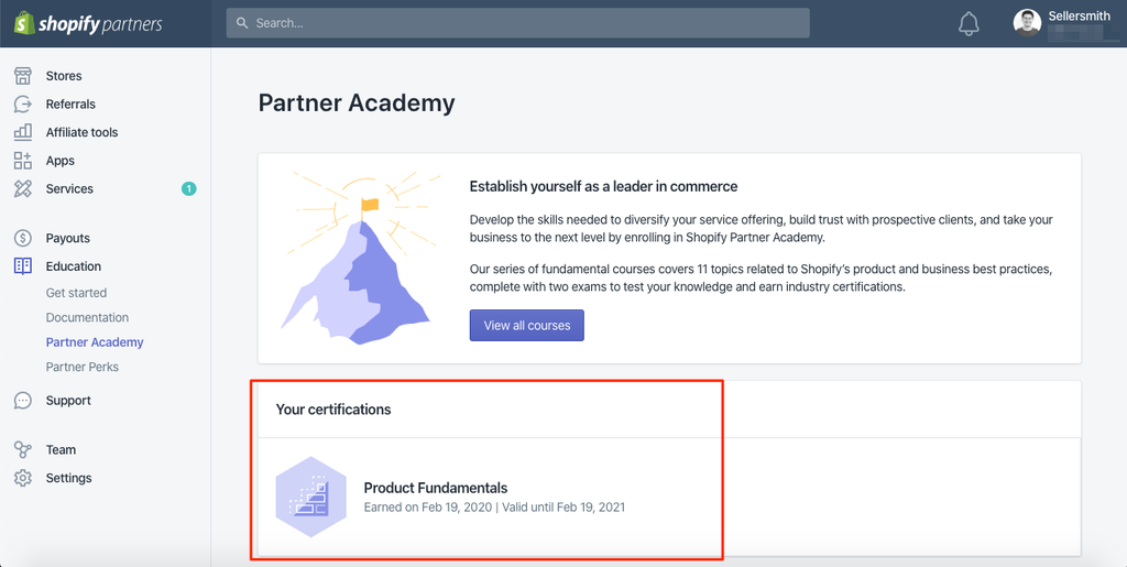 Certificate Shopify Partners