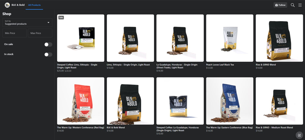 BLK & Bold Shopify facebook store examples