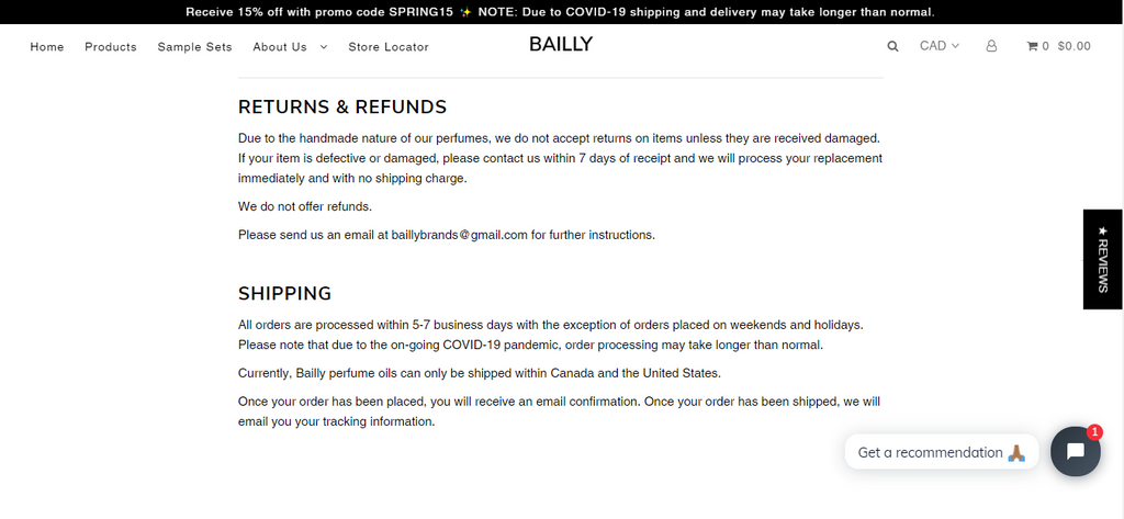 Bailly Shipping Policy Page