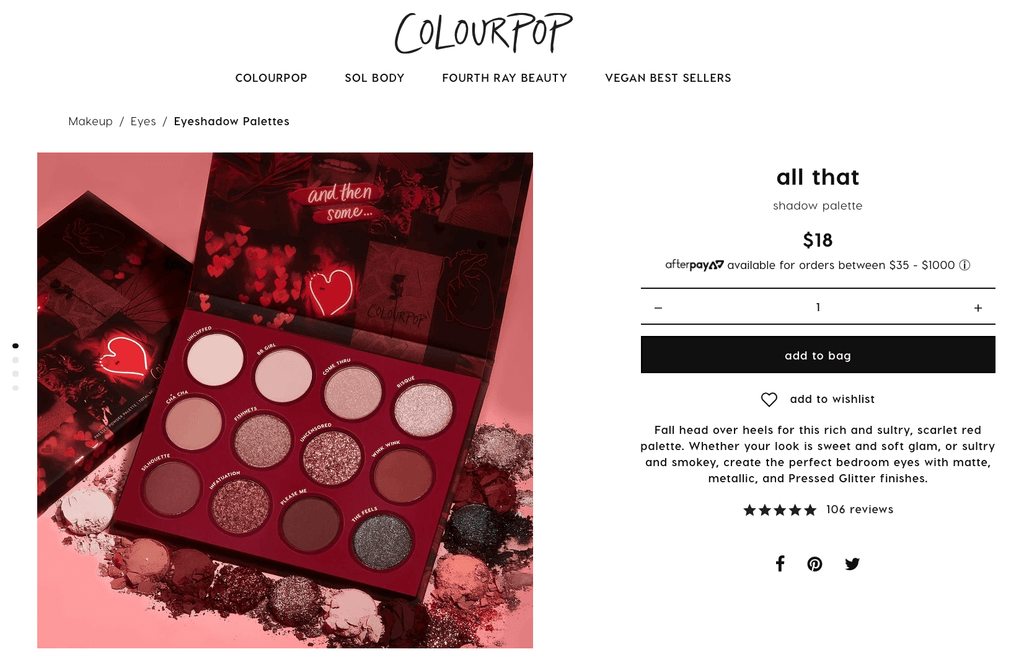 ColourPop Product Page Design