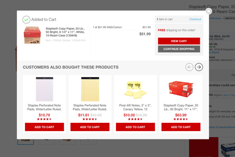 Cross-sell example in Product Page Design