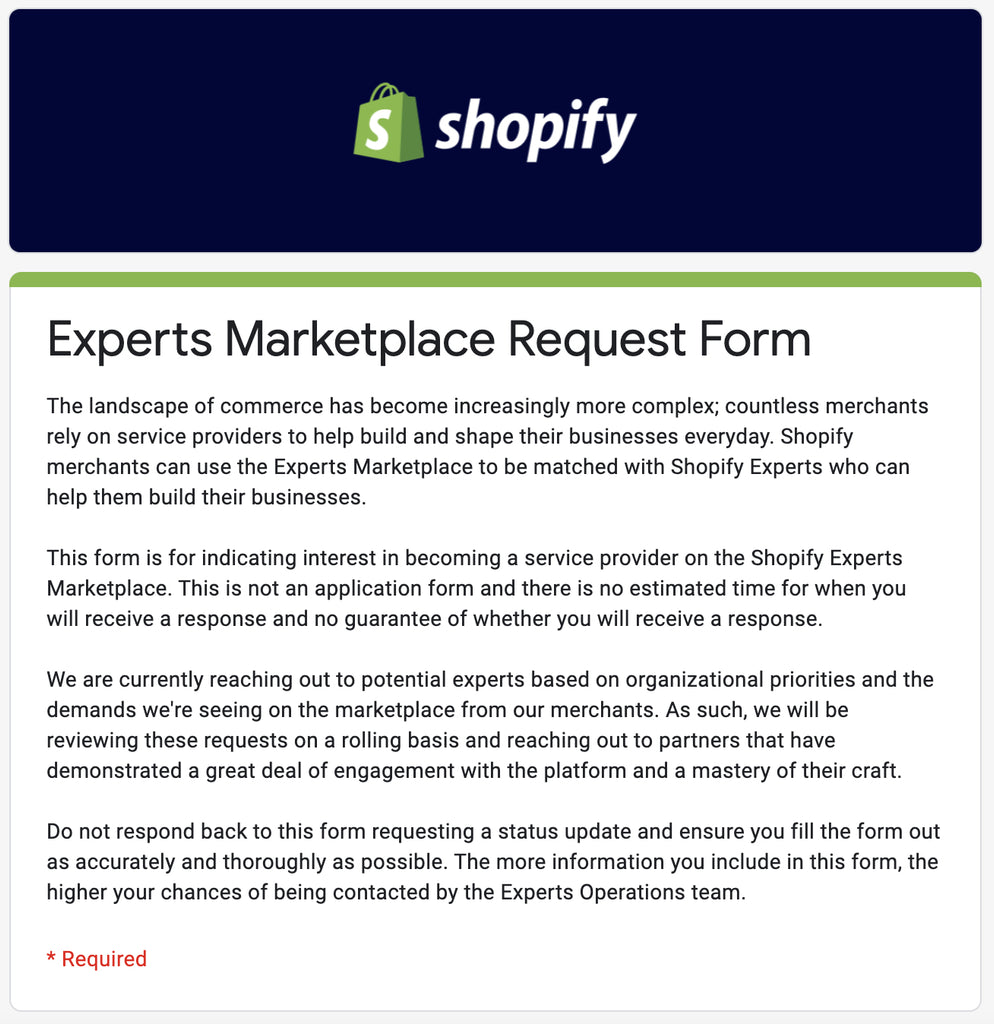 shopify experts marketplace request form