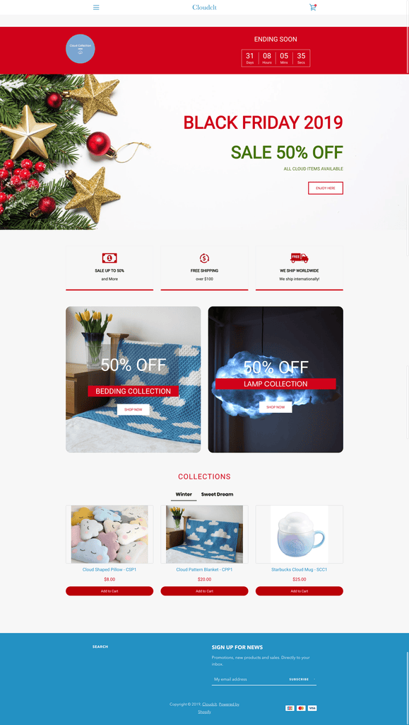 Black friday landing page effective layout