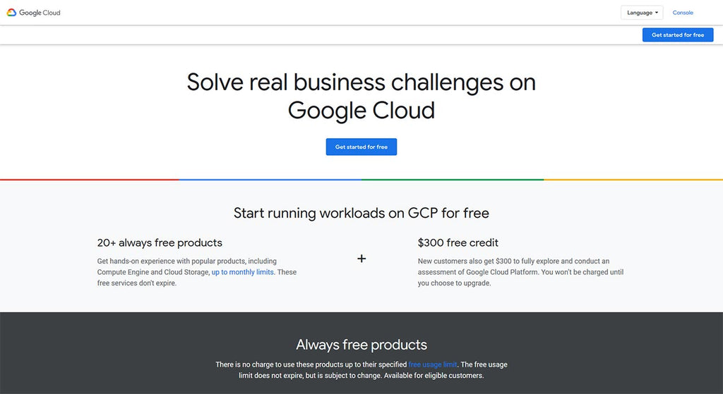 A simple landing page of Google Cloud