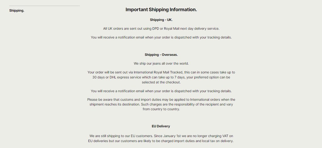 Hiut Denim Shipping Policy Page