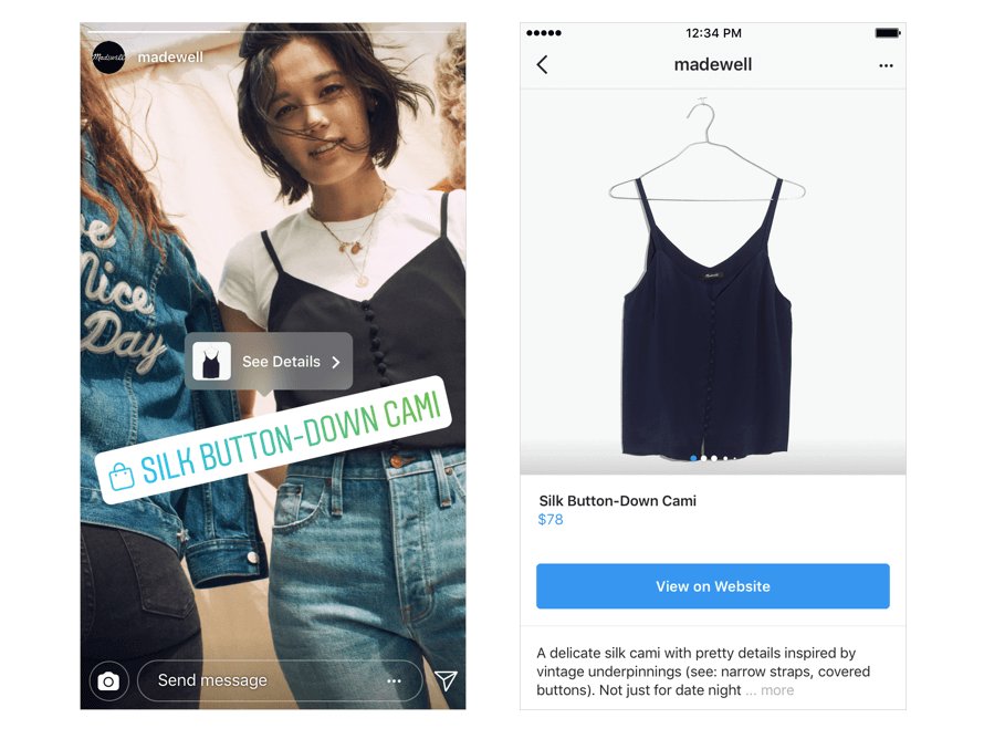 Instagram Shopping feature shoppable story