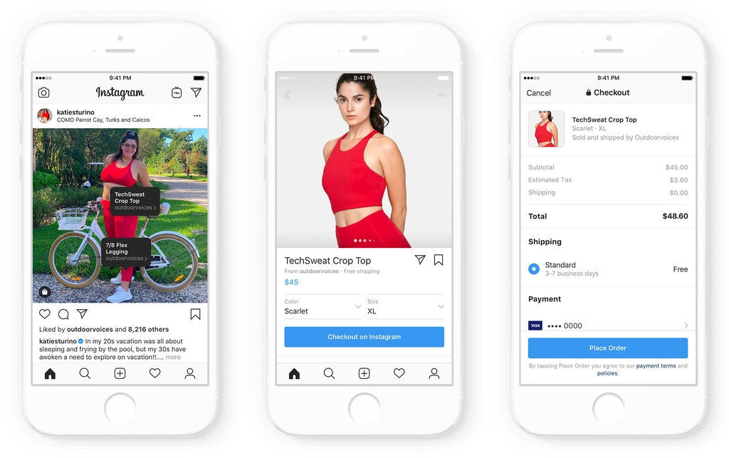 Instagram Shopping in-app Checkout