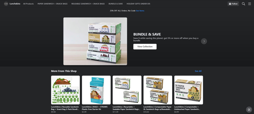 Lunchskins Shopify Facebook store examples