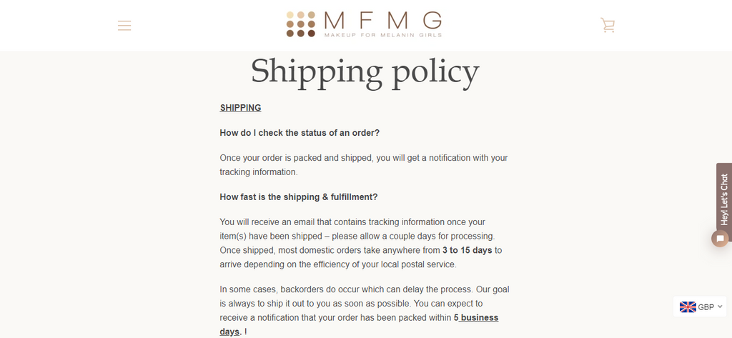 MFMG Shipping Policy Page