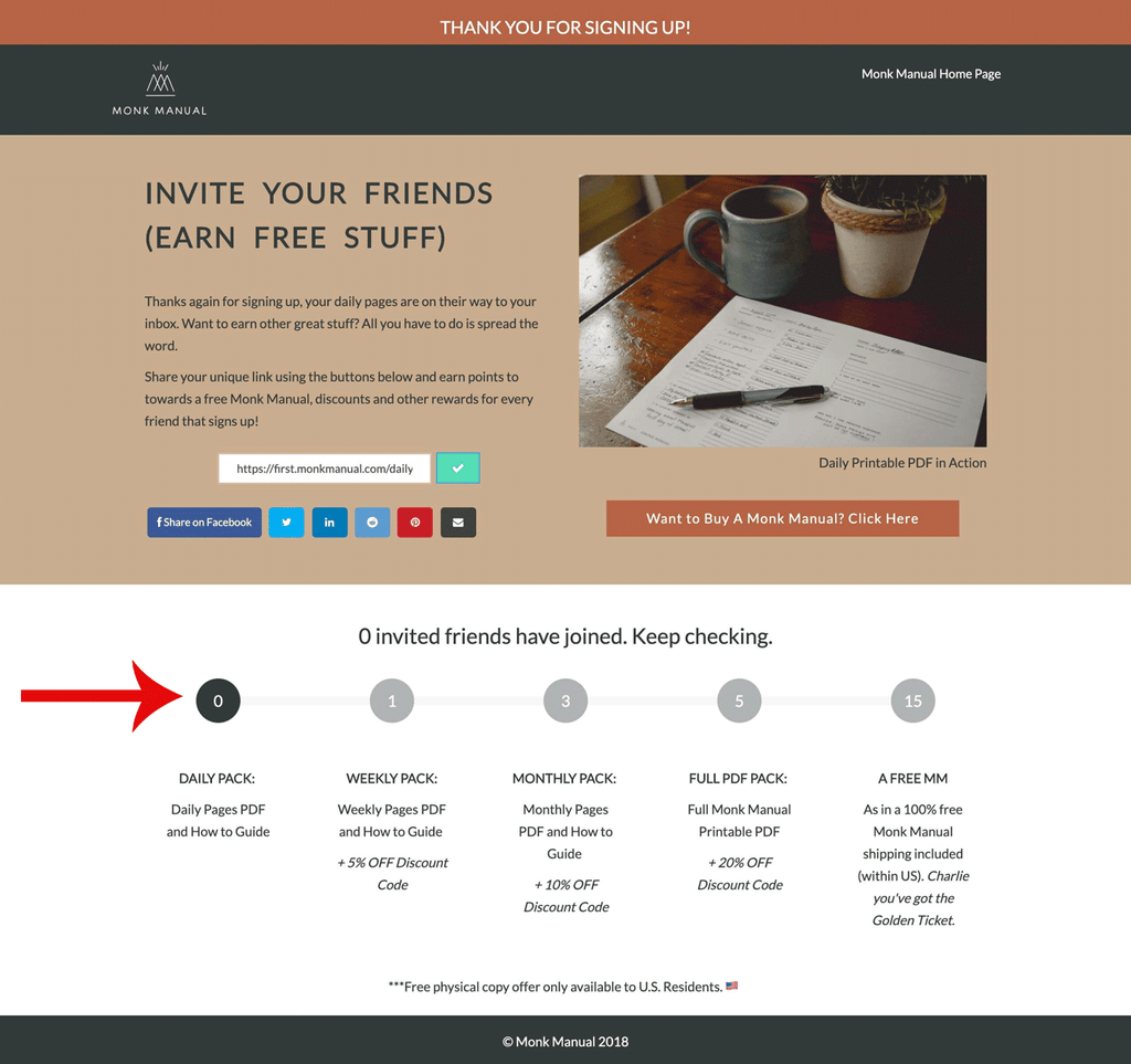 Add incentives to refer to Shopify thank you page