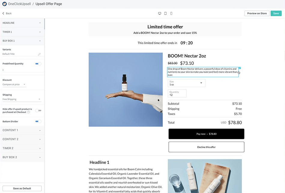 check-out upsell