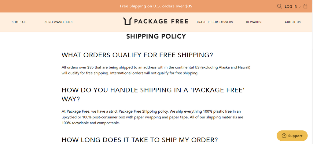 Package Free Shipping Policy Page