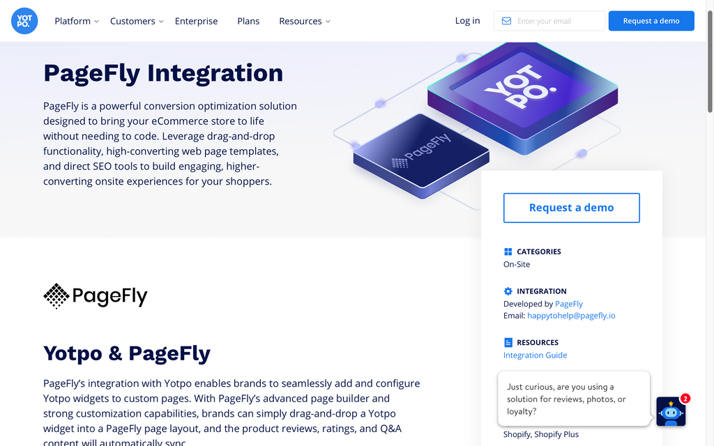 PageFly Yotpo intergration