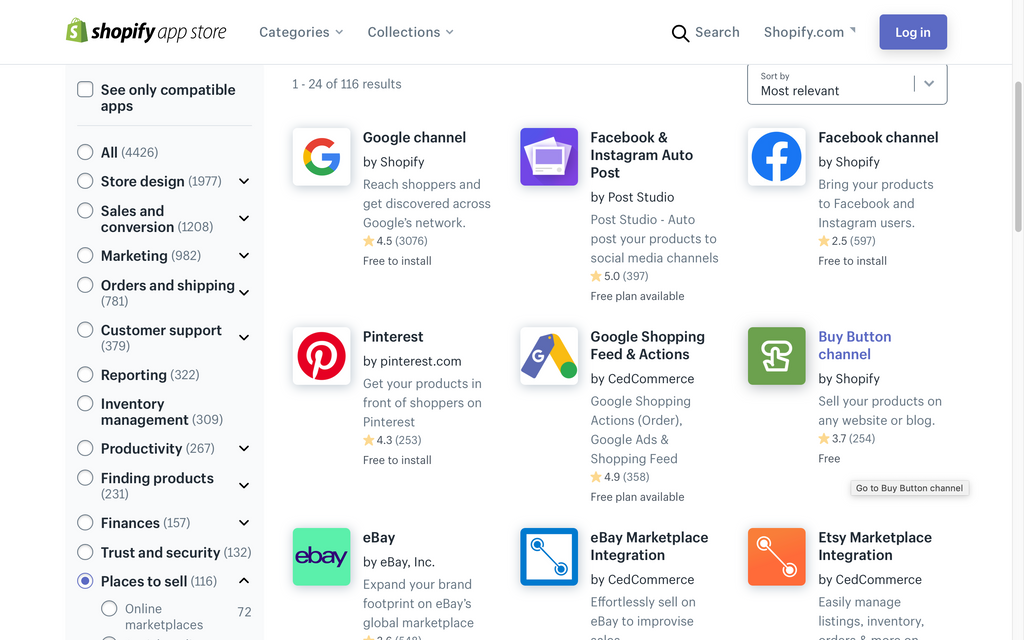 Google Channel on Shopify apps store
