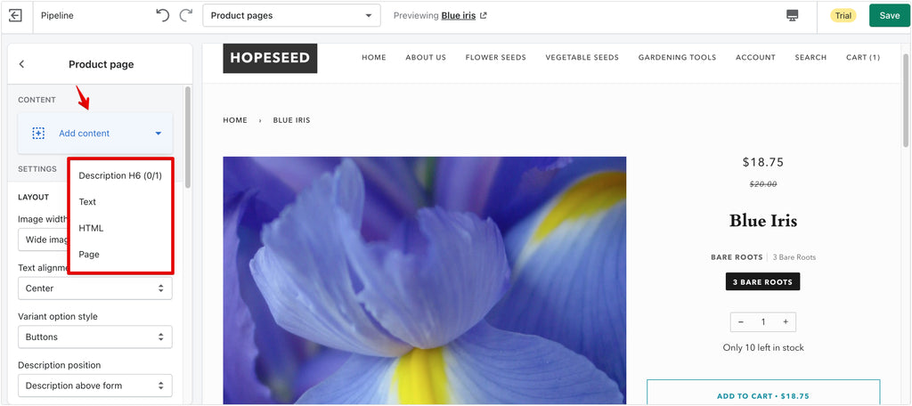 content sections on product page