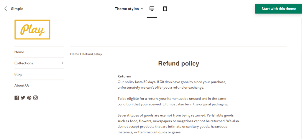 Simple Theme Shipping Policy Template