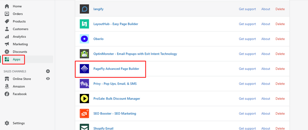 Open the PageFly Advanced Web Page Builder App