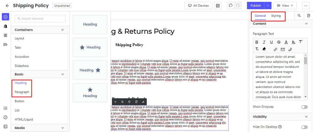 Customize Your New Shipping Policy Page