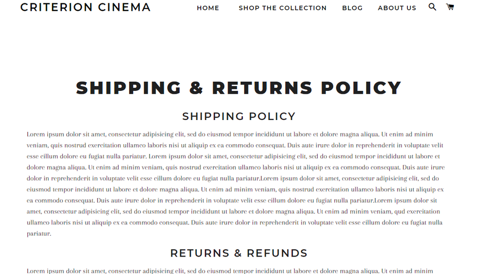Shipping Policy Page With PageFly