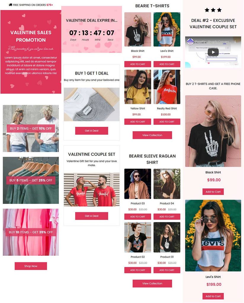 Valentine Sale Promotion Page for Shopify with mobile design