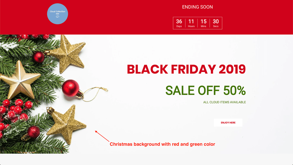 black friday landing page background color