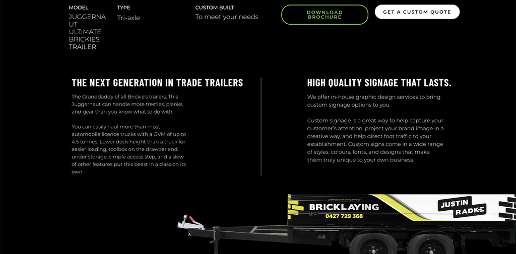 the brick business product page