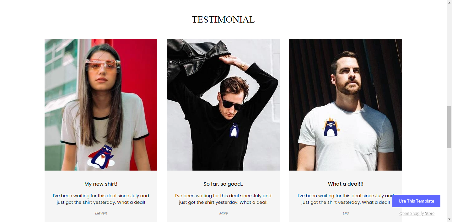 testimonial shopify product page pagefly template